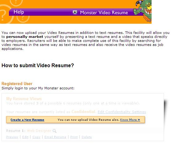 monster allows uploading of video resumes