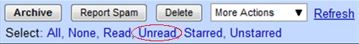 Select unread mail in gmail