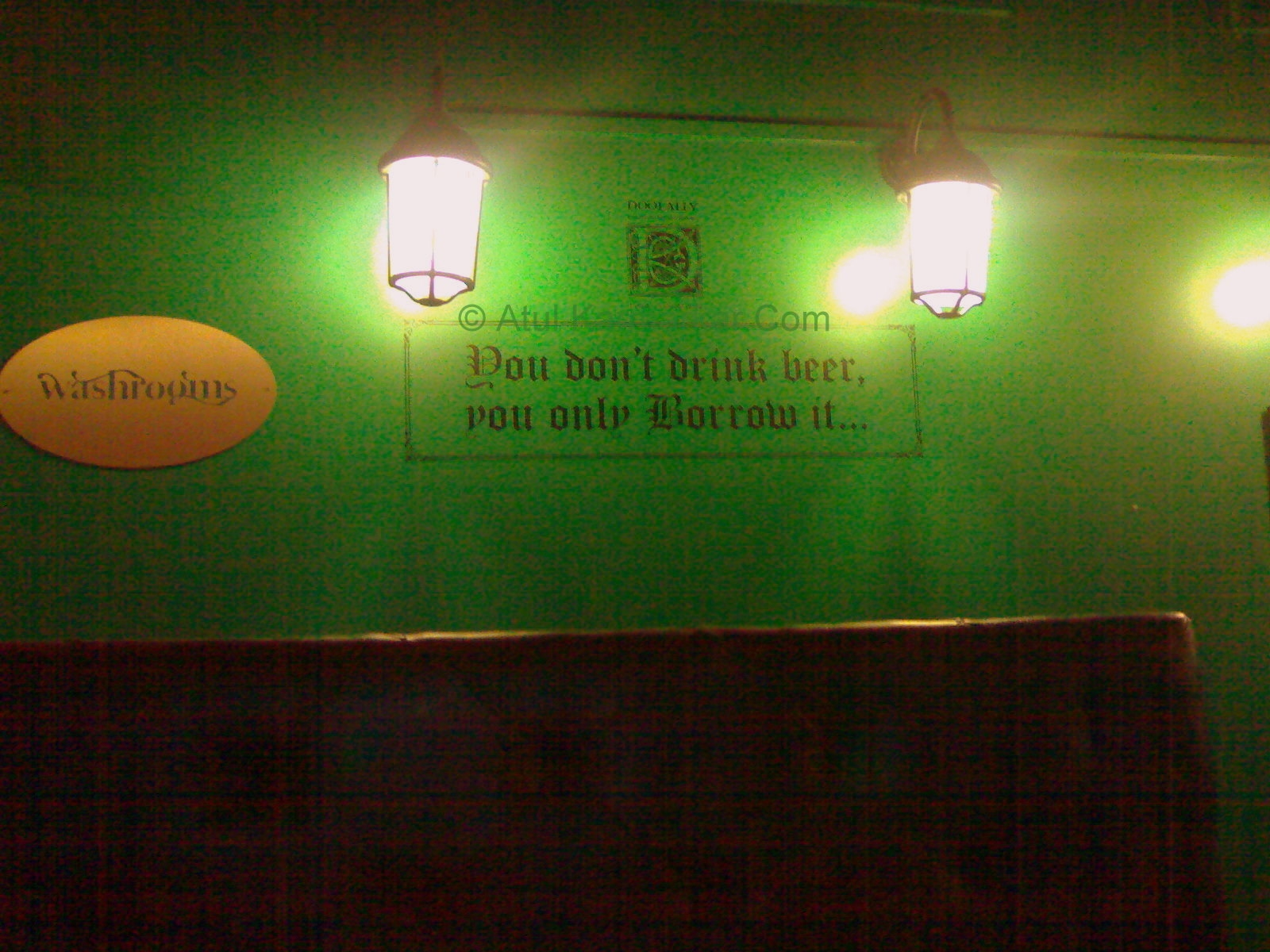 Sign outside Doolally washroom